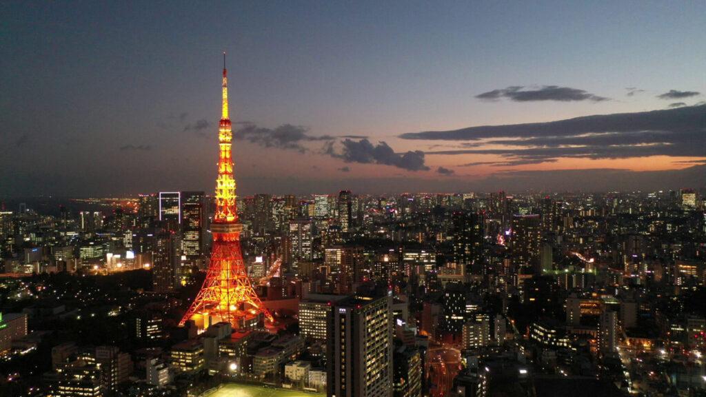 東京タワー夜間ドローン