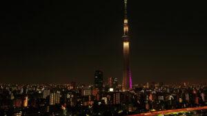東京スカイツリー夜間ドローン空撮